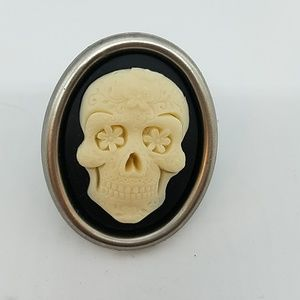 Sugar skull resin cameo cocktail ring sample